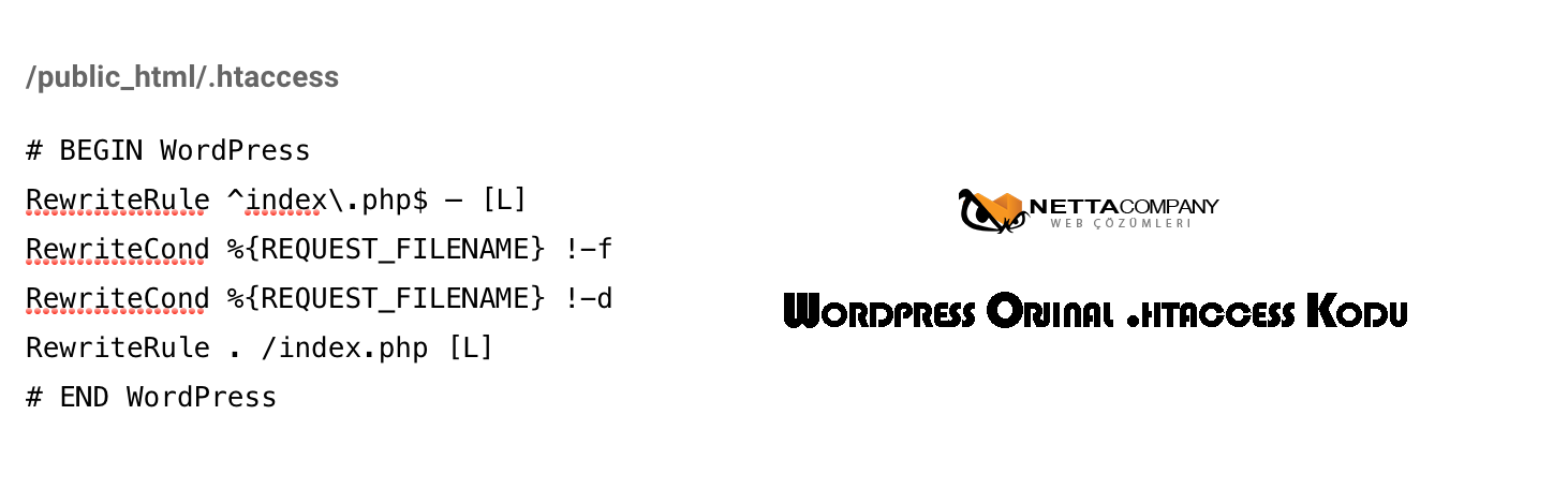 WordPress Orjinal .htaccess Dosyası ve Kodu